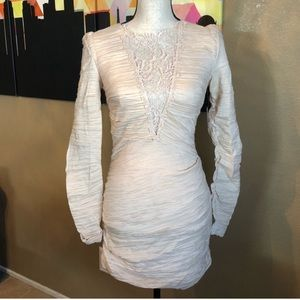 Free People NWT Ivory Lace Ruched Cocktail Dress 2